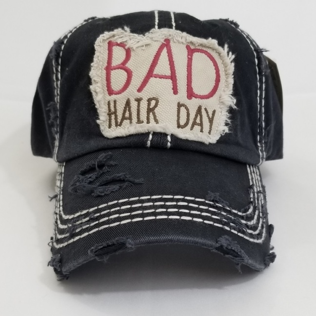 """Bad hair day"" washed vintage baseball cap"