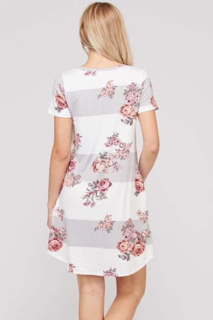 Block and floral dress with side pockets