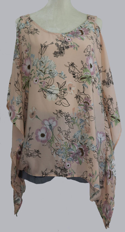 Cold shoulder floral print poncho style top