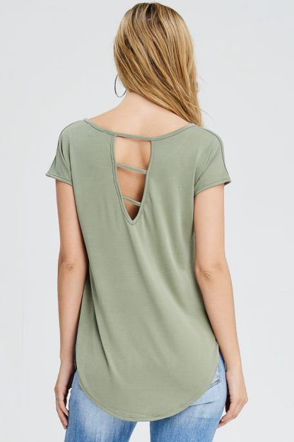 Cupro top with high low hemline and cutout back