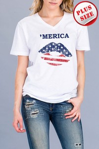 America short sleeve V-neck T-shirt
