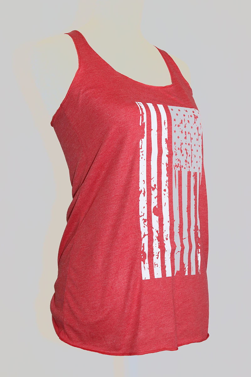 Distressed Flag Ladies Triblend Racerback Tank