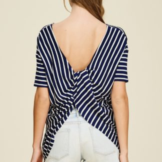 Dolman sleeve striped knit top with round neck and gathered twist back