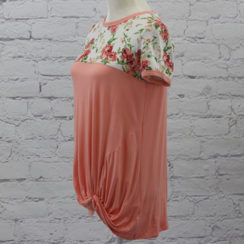 Floral and solid twisted bottom with cap sleeve