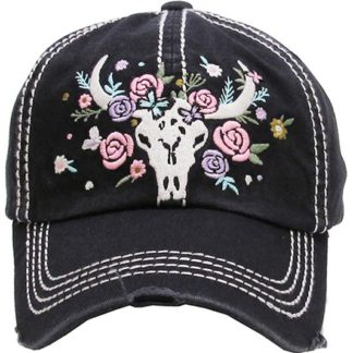 Floral cow skull vintage ball cap