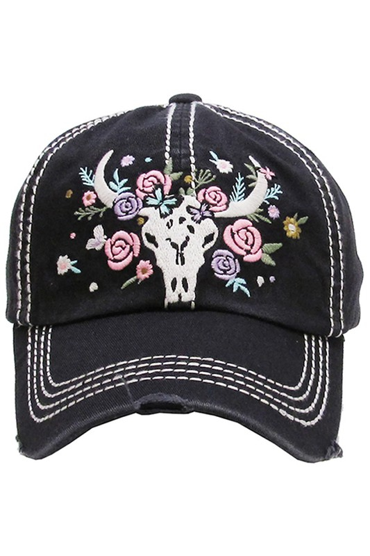 Floral cow skull vintage ball cap - Ivy and Pearl Online Boutique 6bb00aabc9b0