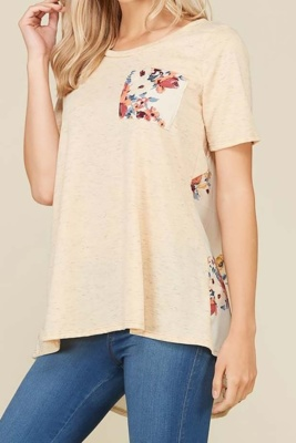 FLORAL PRINT CONTRAST SHORT SLEEVE KNIT TUNIC TOP WITH POCKET AND PLEATING