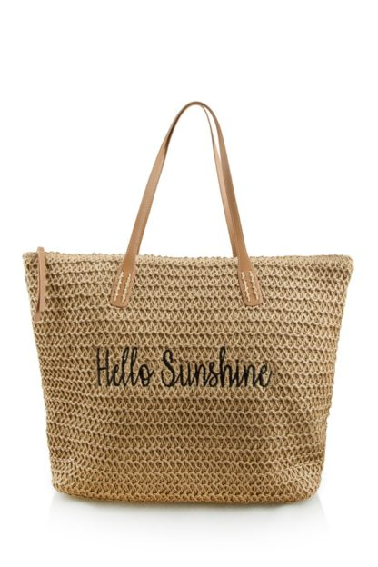 Hello Sunshine Straw Tote Bag