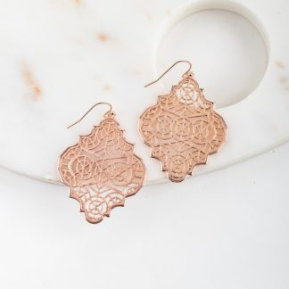 Moroccan spoon flower filigree hook earrings
