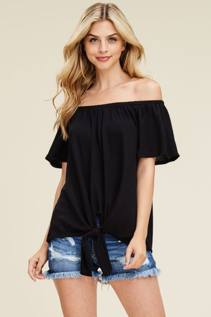 Off the shoulder solid knit top with self tie knot