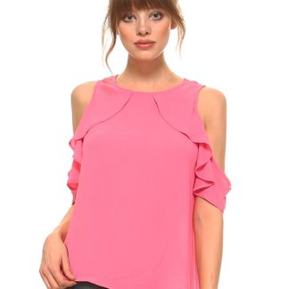 Open-shouder, short flutter sleeves woven top