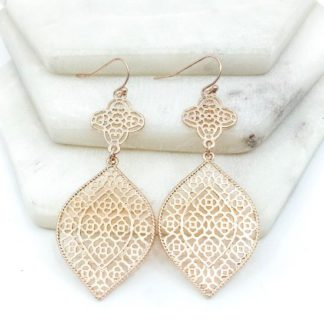 Rose gold pendant earrings