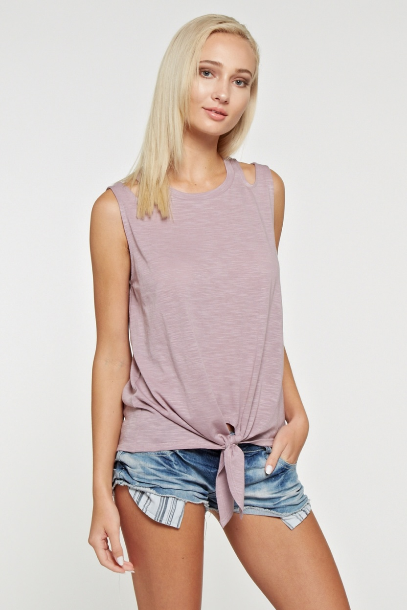 Slub knit fabric top with shoulder cutouts and front self-tie knot