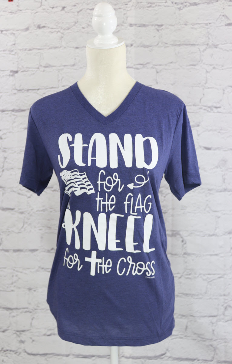 Stand for the flag, kneel for the cross V-neck T-shirt