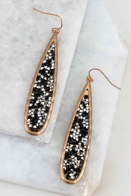 Sunburst glitter-stone hook earrings