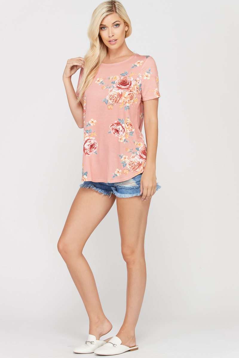 Twisted open-back floral print top
