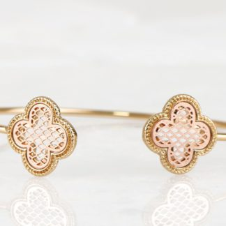 Two-tone metallic filigree open bangle bracelet