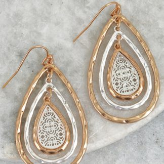 Two-tone three-layer drop filigree hook earrings