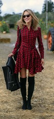 Typical Fall-weather plaid dress.
