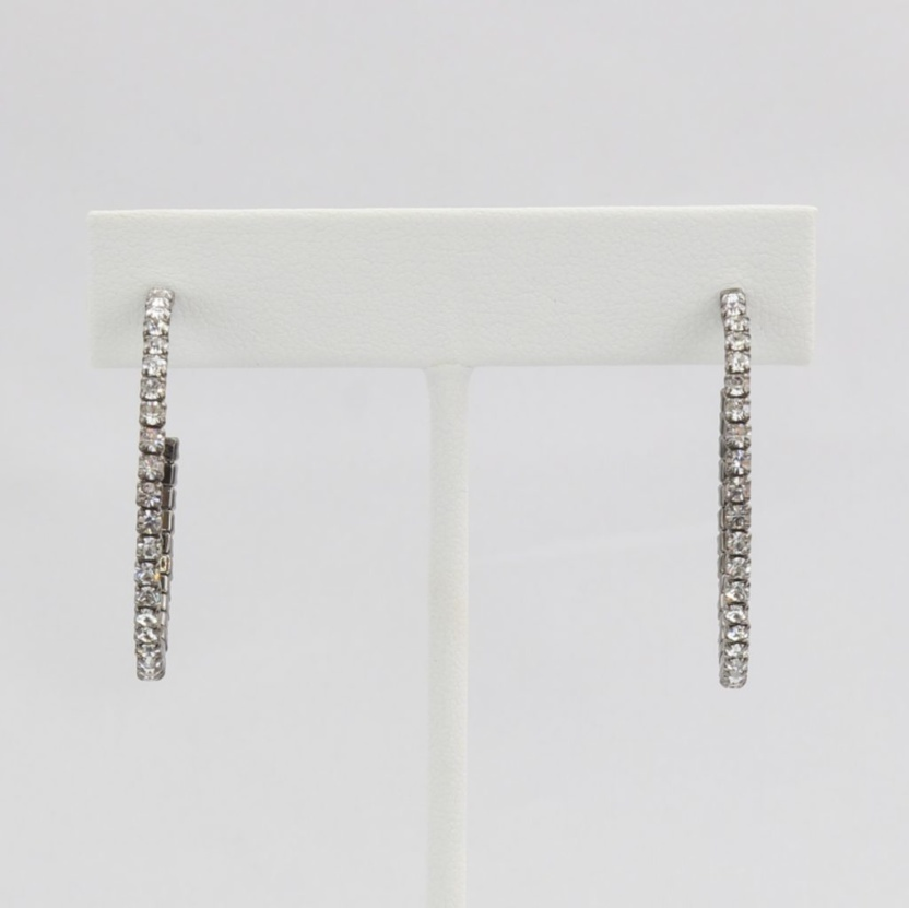 Box snake chain hoop earrings with inlaid diamond-like cubic zirconia stones