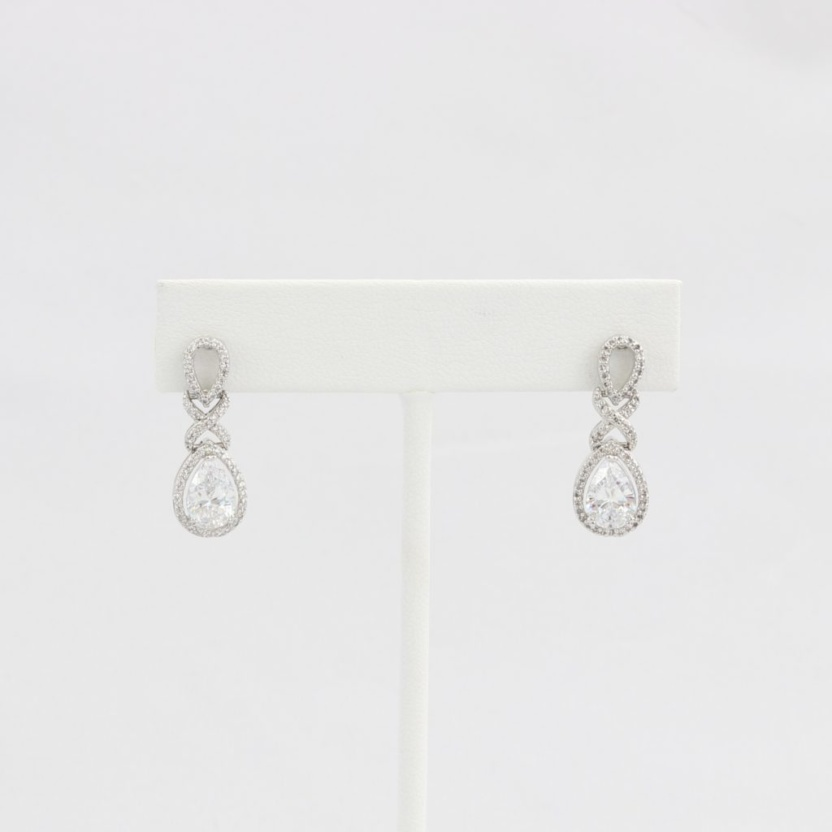 Diamond-like Cubic Zirconia (CZ) dangle earrings