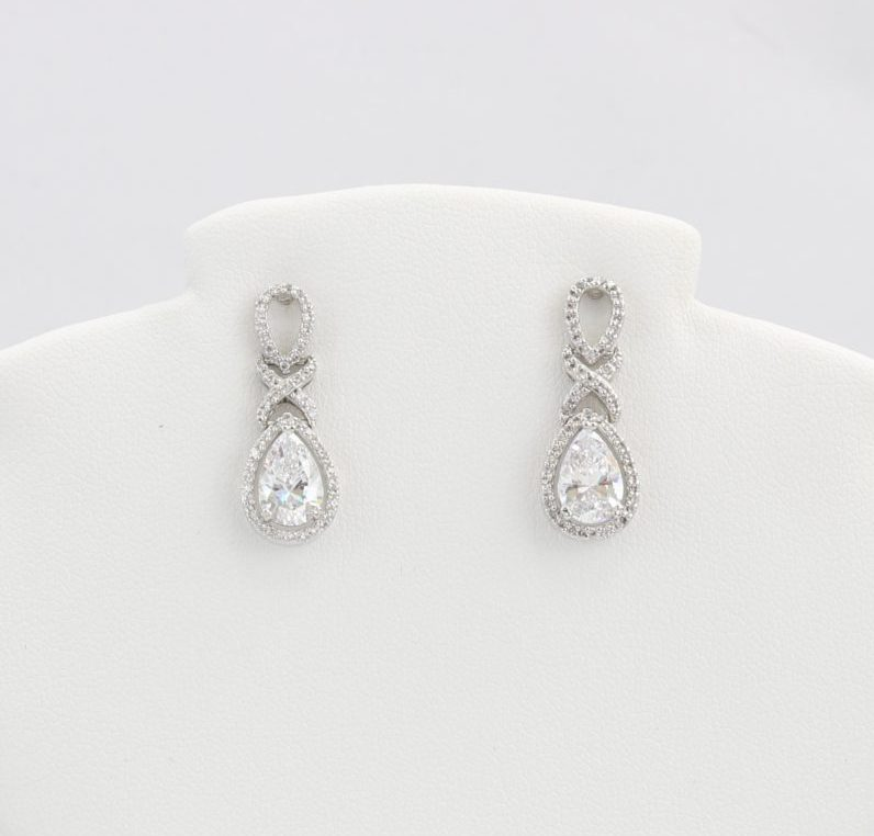 Diamond-like Cubic Zirconia (CZ) dangle earrings (teardrop shape)