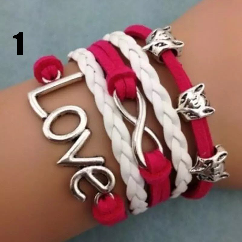 """Handmade leather braided charm bracelet (""""Love"""" with Foxes, Figure-8)"""