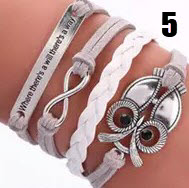 """Handmade leather braided charm bracelet (""""Where there's a will there's a way"""" with Owl, Figure 8)"""