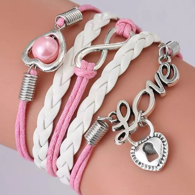 "Handmade leather braided charm bracelet (""Love"" with buckle, heart, pearl, lock)"