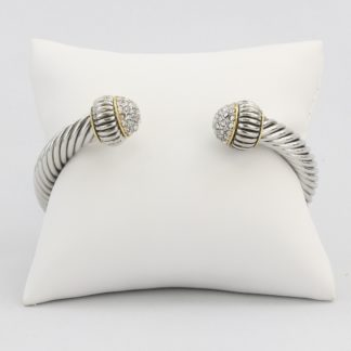 Large twisted cable cuff bracelet with synthetic diamond cluster