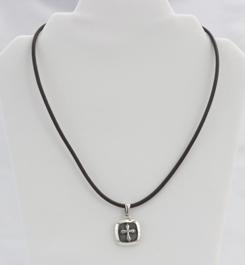 Leather corded cross pendant necklace