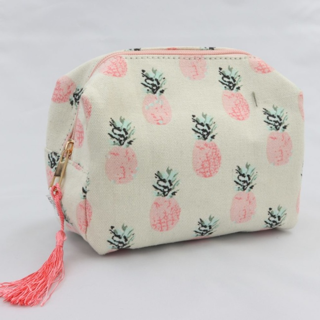 Pink pineapple cosmetic bag
