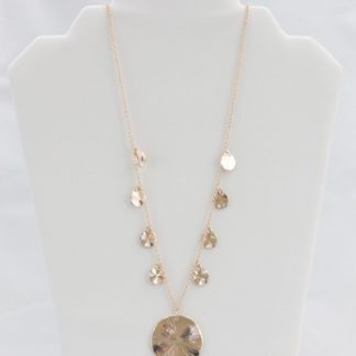 Rose gold hammered-disc necklace