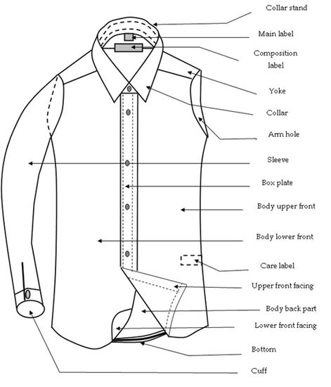 Components/parts of a shirt or blouse (front)