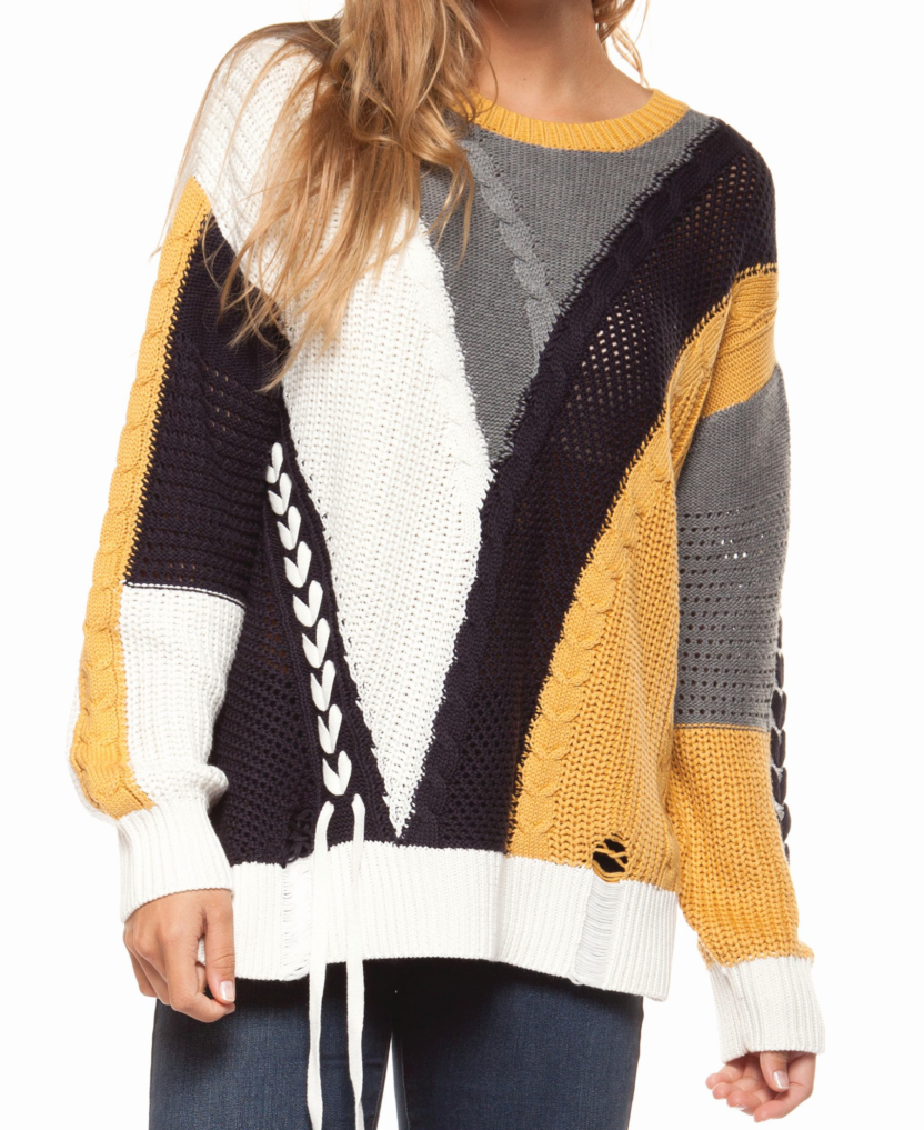 Long sleeve color block cabel knit sweater with lace-up trim