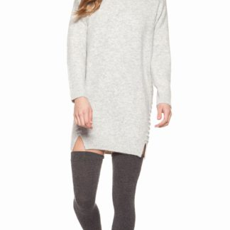 Long sleeve crew neck dress with lace-up detail side seam