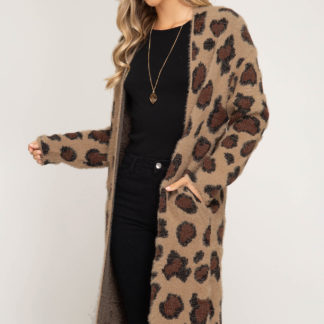 Long sleeve leopard fuzzy front open long cardigan
