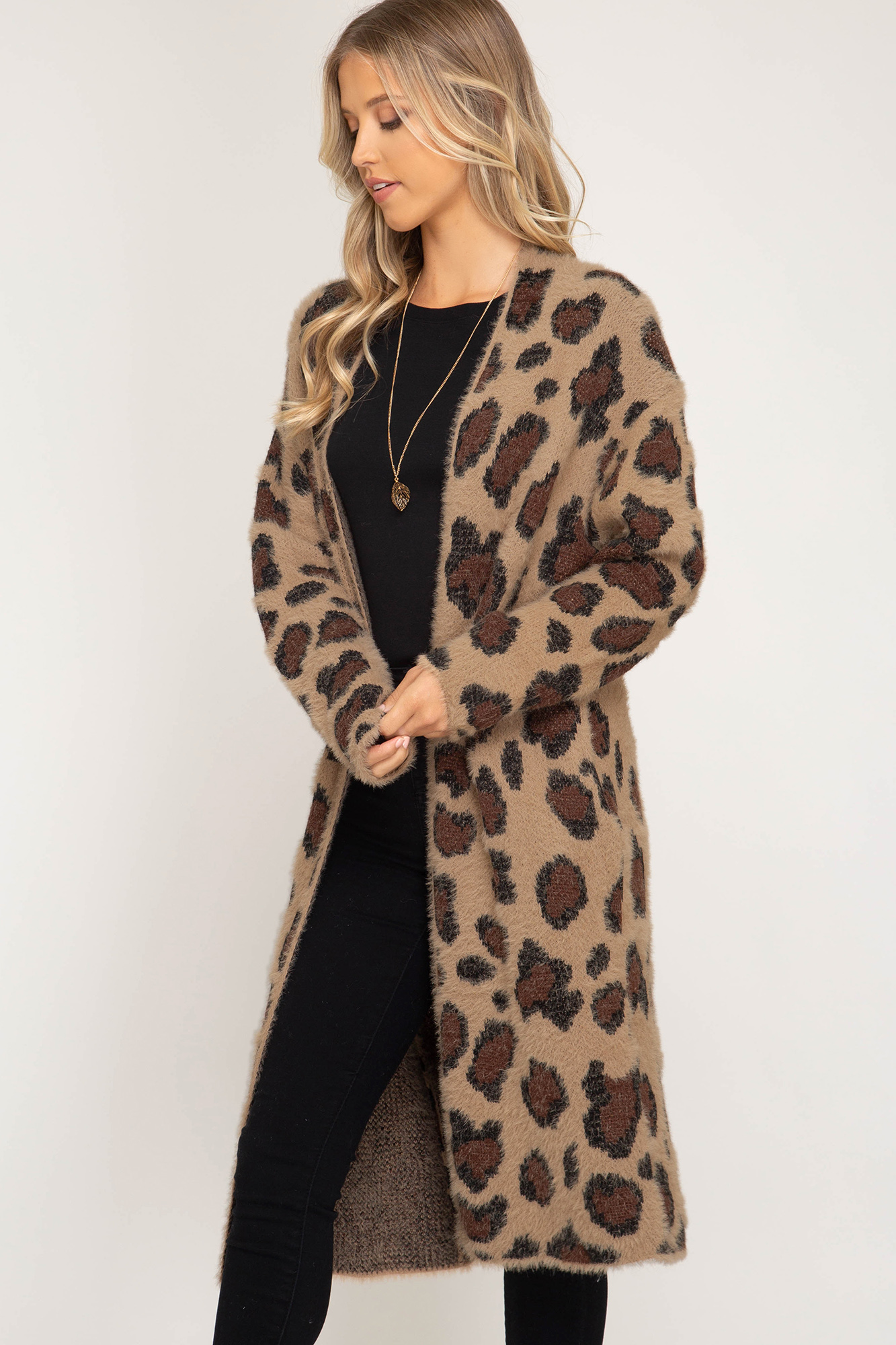 bb22faac54 Long sleeve leopard fuzzy front open long cardigan - Ivy and Pearl ...