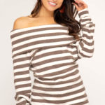 Long sleeve off-the-shoulder striped brushed knit tunic top