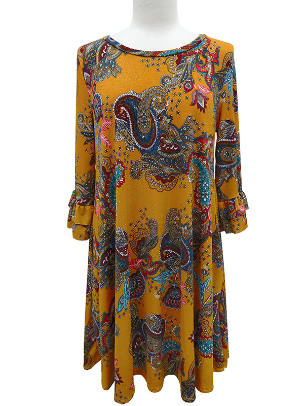 Paisley Print Ruffle Sleeve Dress with Pockets
