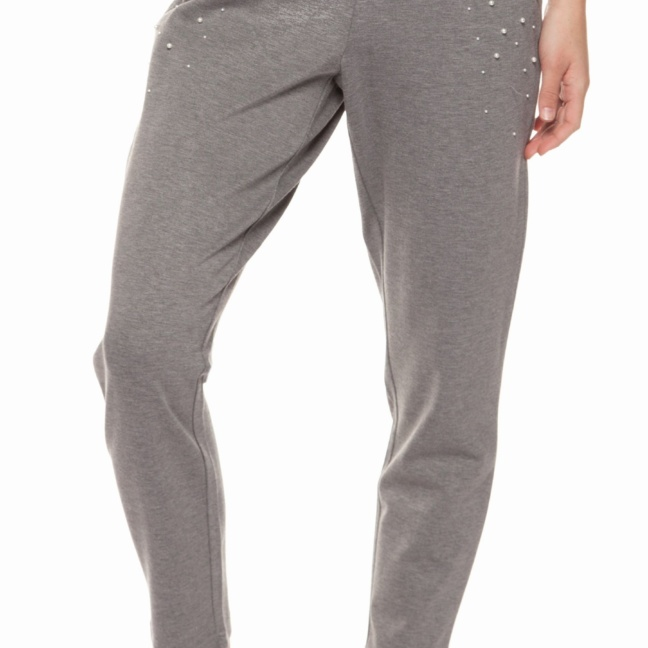 Pull-On sweat pant with pearl studs details