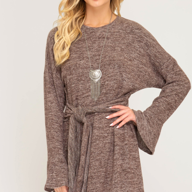 Ruffled long sleeve brushed knit dress with front tie
