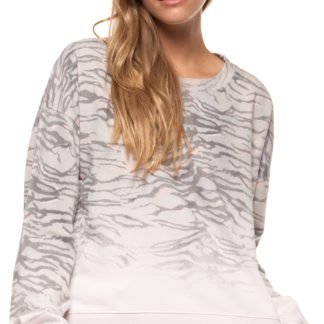 Scoop neck printed dip dye sweatshirt