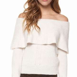 Soft oat heater long sleeve off shoulder sweater