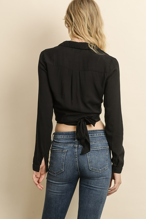 Tie front/back blouse