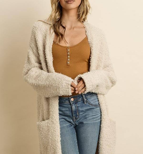 FW2163-Ultra soft teddy cardigan sweater-2