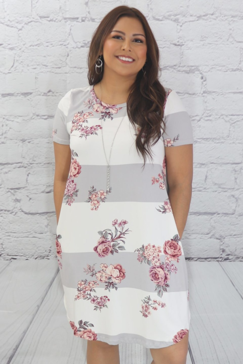 Block floral dress with side pockets