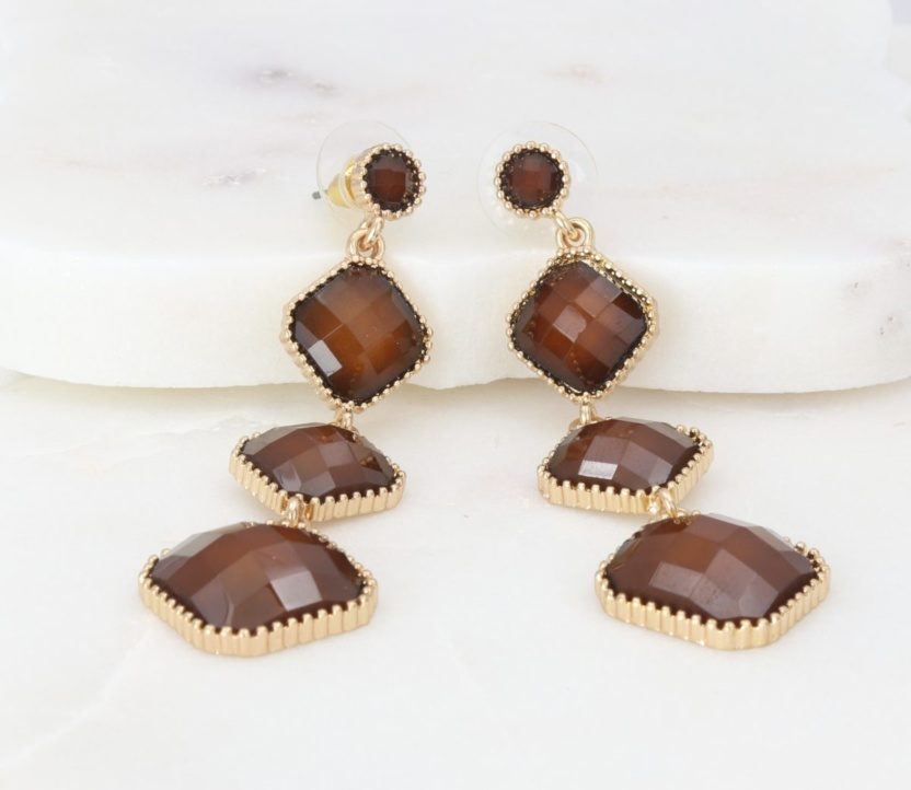 Brown stone quad-element earrings with beaded-gold outline