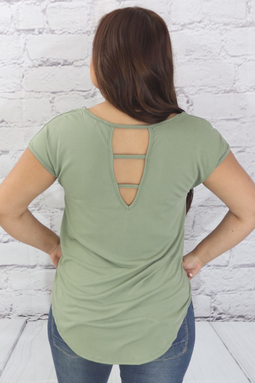 Cupro top high-low hemline with cutout back rear view