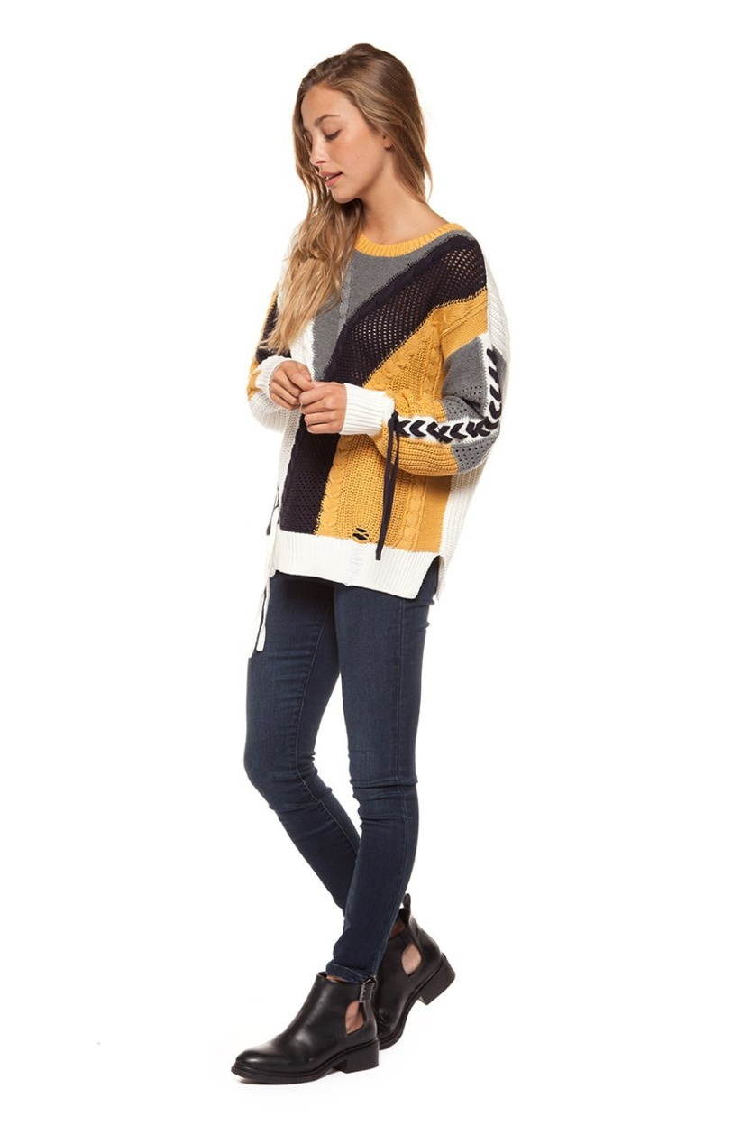 Dex long sleeve color block cabel knit sweater with lace-up trim
